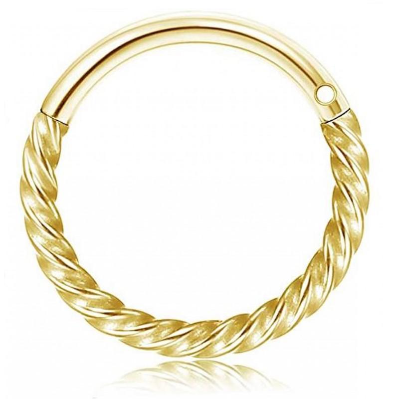 σκουλαρίκι piercing segment κρίκος από χειρουργικό ατσάλι χρυσό 1.2mm x 8mm 7