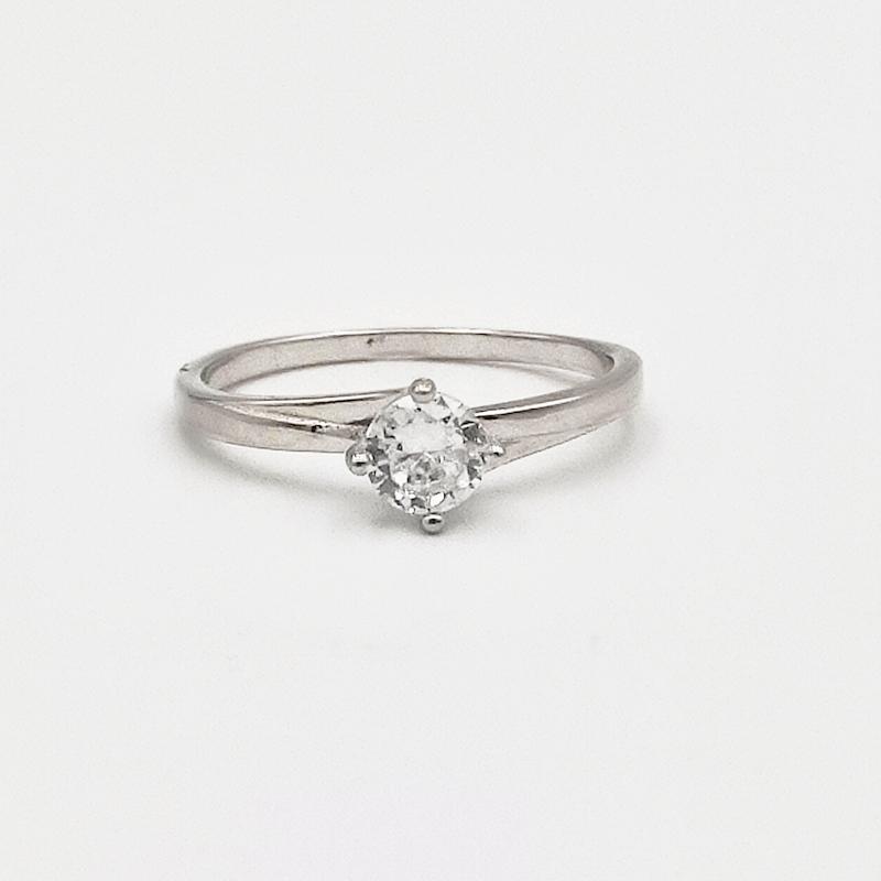 δαχτυλίδι ασήμι 925 μονόπετρο ρόδιο λευκά ζιργκόν 7