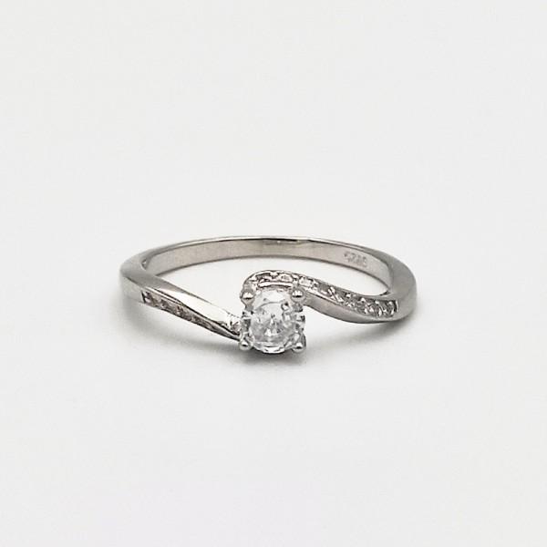 Δαχτυλίδι ασήμι 925 μονόπετρο ρόδιο λευκά ζιργκόν