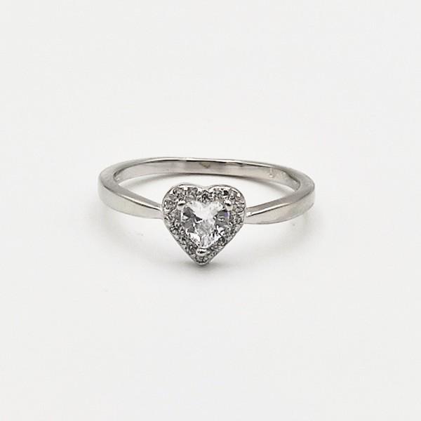 Δαχτυλίδι ασήμι 925 μονόπετρο ρόδιο καρδιά λευκά ζιργκόν