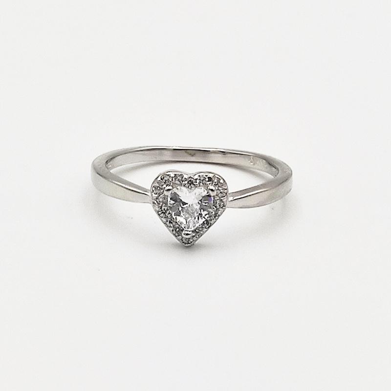 δαχτυλίδι ασήμι 925 μονόπετρο ρόδιο καρδιά λευκά ζιργκόν 7