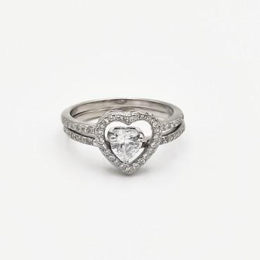 δαχτυλίδι ασήμι 925 ρόδιο καρδιά με λευκά ζιργκόν 18