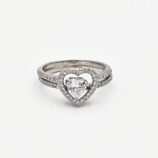 Δαχτυλίδι ασήμι 925 διπλό ρόδιο καρδιά λευκά ζιργκόν