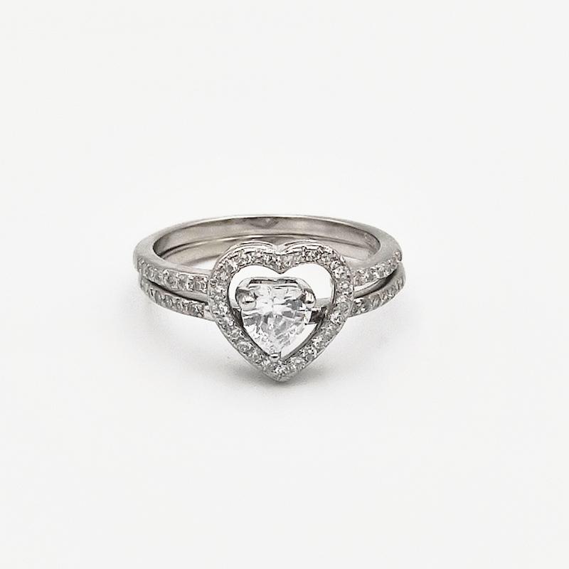 δαχτυλίδι ασήμι 925 διπλό ρόδιο καρδιά λευκά ζιργκόν 7