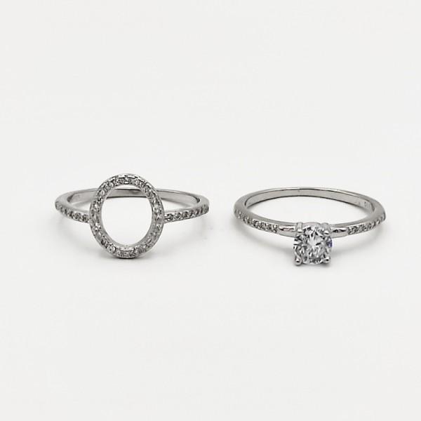 Δαχτυλίδι ασήμι 925 διπλό ρόδιο στρογγυλό λευκά ζιργκόν