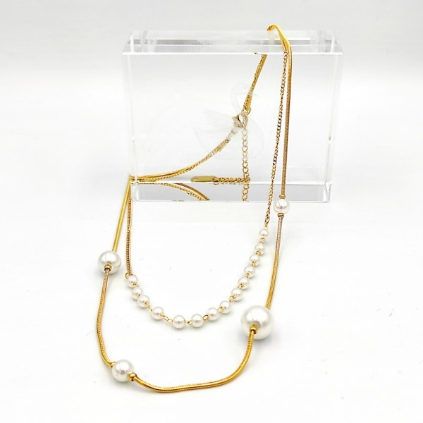 Διπλό χρυσό κολίε απο χειρουργικό ατσάλι με λευκές πέρλες