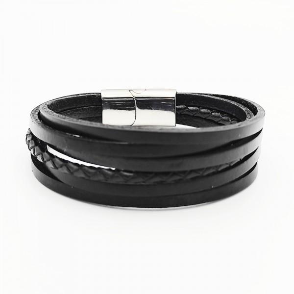 Βραχιόλι μαύρο δερμάτινο με μαγνητικό κούμπωμα από χειρουγικό ατσάλι