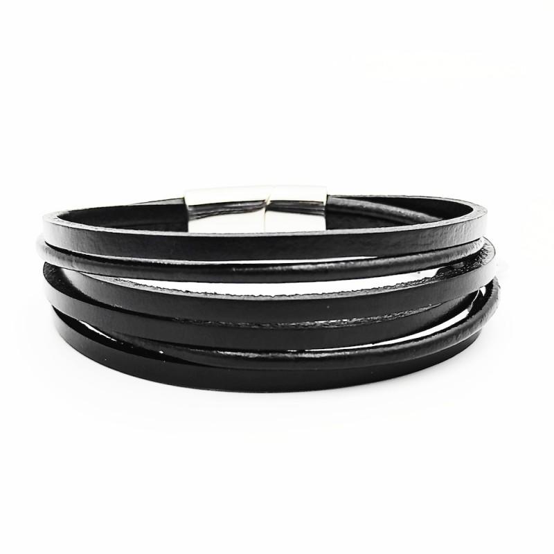 βραχιόλι μαύρο δερμάτινο με μαγνητικό κούμπωμα από χειρουγικό ατσάλι 7