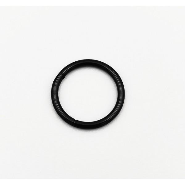Σκουλαρίκι piercing segment μαύρος κρίκος απο χειρουργικό ατσάλι 1.2mm x 10mm
