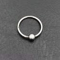 σκουλαρίκι piercing segment ασημί κρίκος απο χειρουργικό ατσάλι 1.2mm x 12mm με μπίλια 3 mm 8