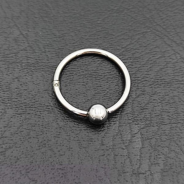 Σκουλαρίκι piercing segment ασημί κρίκος απο χειρουργικό ατσάλι 1.2mm x 12mm με μπίλια 3 mm