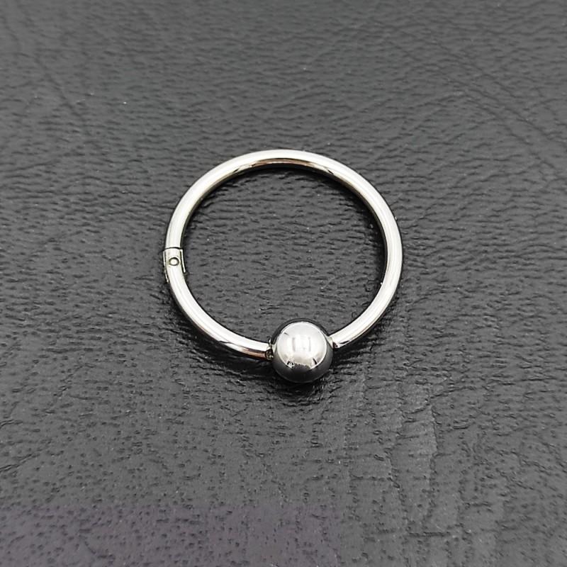 σκουλαρίκι piercing segment ασημί κρίκος απο χειρουργικό ατσάλι 1.2mm x 12mm με μπίλια 3 mm 7