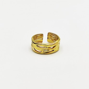 σκουλαρίκι piercing segment κρίκος από χειρουργικό ατσάλι χρυσό 1.2mm x 8mm 15