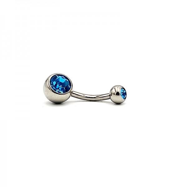 Σκουλαρίκι αφαλού από χειρουργικό ατσάλι 1.6mm x 10mm με γαλάζιο στρας πάνω κάτω
