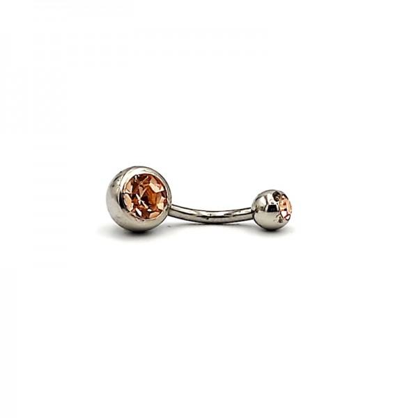 Σκουλαρίκι αφαλού από χειρουργικό ατσάλι 1.6mm x 10mm με μπεζ στρας πάνω κάτω