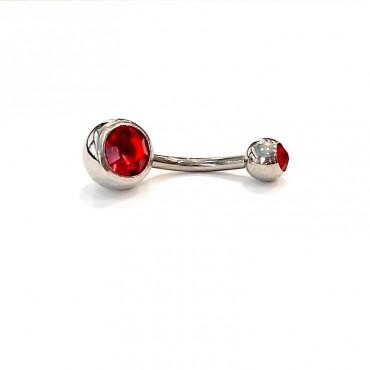 σκουλαρίκι piercing segment ασημί κρίκος απο χειρουργικό ατσάλι 1.2mm x 12mm με μπίλια 3 mm 11