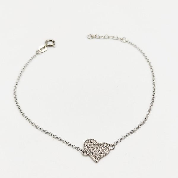 Βραχιόλι ασήμι 925 ρόδιο καρδιά με λευκά ζιργκόν
