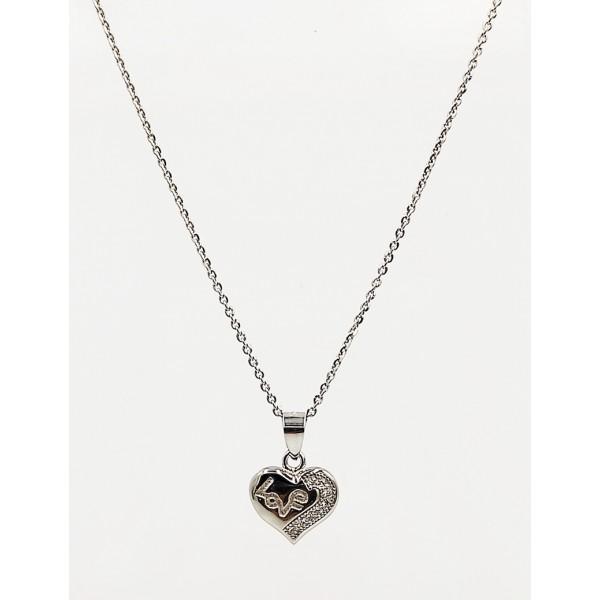 Κολιέ ασήμι 925 ρόδιο καρδιά love με λευκά ζιργκόν