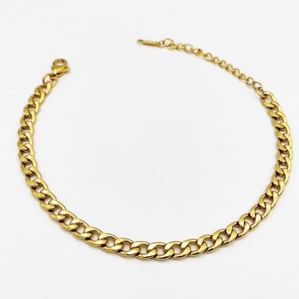 Βραχιόλι ποδιού χρυσή αλυσίδα από χειρουργικό ατσάλι