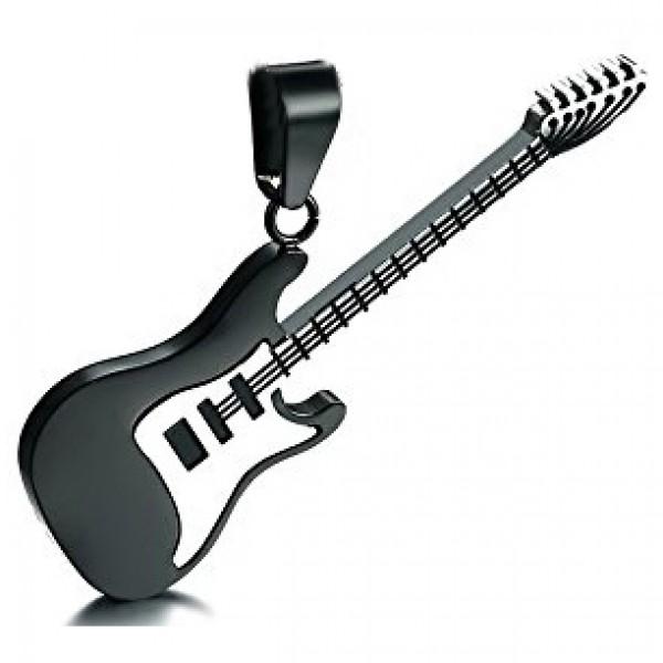 Μαύρη ηλεκτρική κιθάρα από χειρουργικό ατσάλι