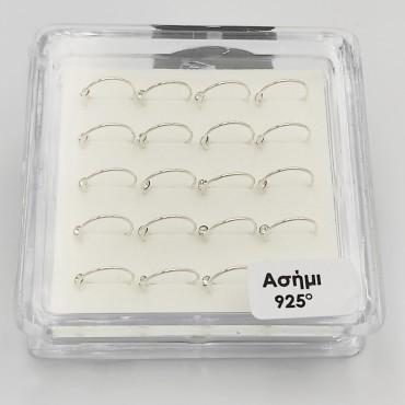βραχιόλι ασήμι 925 ρόδιο καρδιά με λευκά ζιργκόν 15