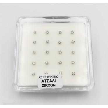 σκουλαρίκια μύτης ασημένια με λευκό στρασάκι οβάλ 4 mm καρφάκι 18