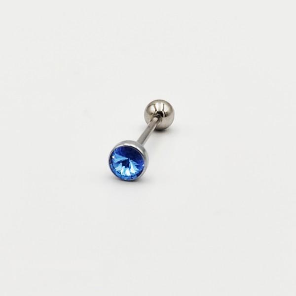 Σκουλαρίκι piercing μπάρα από χειρουργικό ατσάλι 1.2mm x 20mm με γαλάζιο στρας