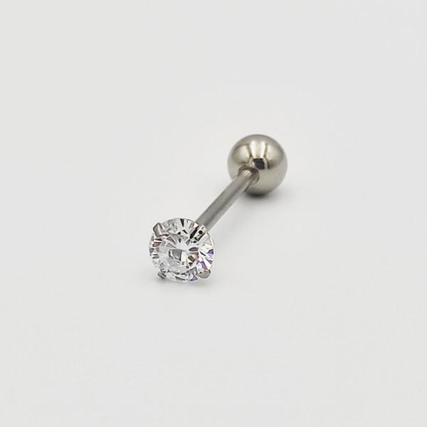 Σκουλαρίκι piercing μπάρα από χειρουργικό ατσάλι 1.2mm x 17mm με μπίλια ζιργκον 5 mm