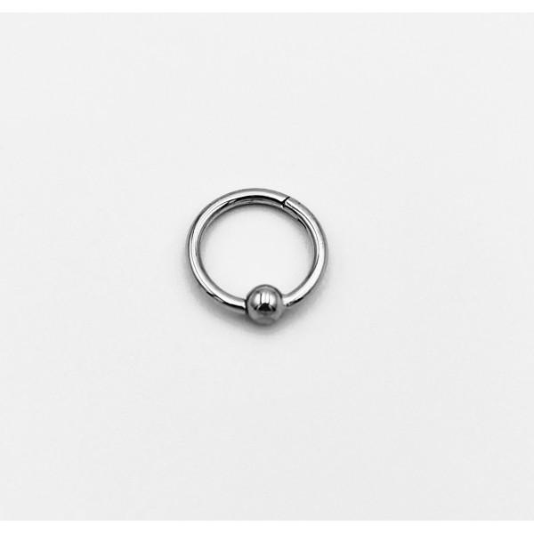 Σκουλαρίκι piercing segment κρίκος από χειρουργικό ατσάλι 1.2mm x 8mm με μπίλια 3 mm