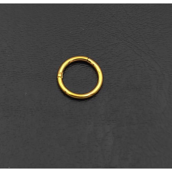Σκουλαρίκι piercing segment κρίκος από χειρουργικό ατσάλι χρυσό 1.2mm x 8mm
