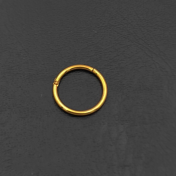 Σκουλαρίκι piercing segment κρίκος από χειρουργικό ατσάλι χρυσό 1.2mm x 10mm