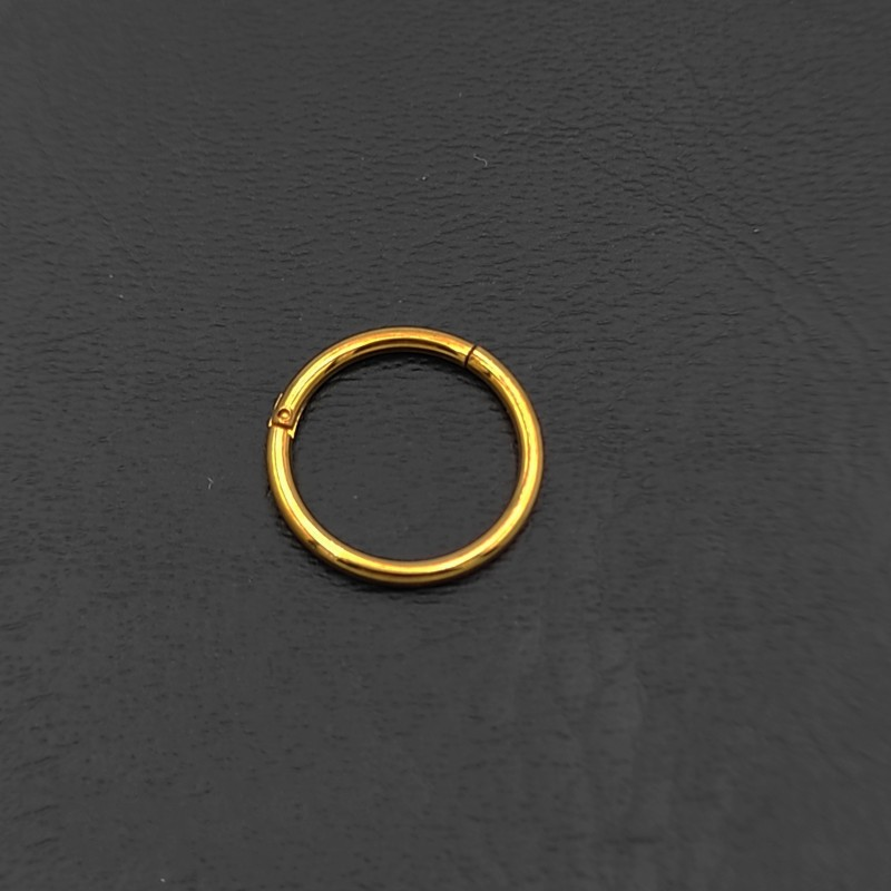 σκουλαρίκι piercing segment κρίκος από χειρουργικό ατσάλι χρυσό 1.2mm x 10mm 7