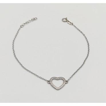 βραχιόλι ασήμι 925 ρόδιο καρδιά με λευκά ζιργκόν 12