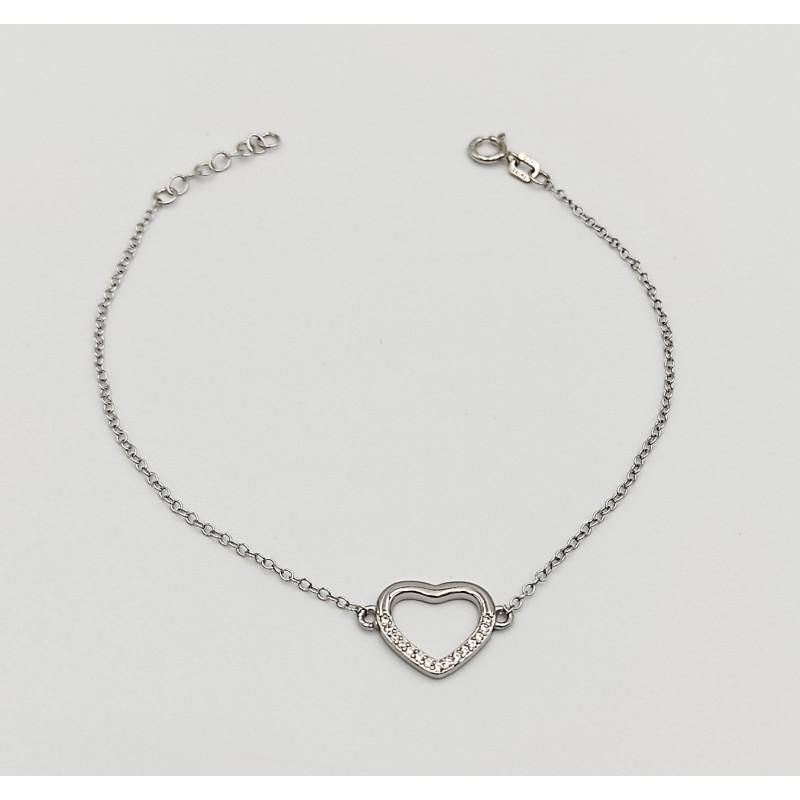 βραχιόλι ασήμι 925 ρόδιο καρδιά με λευκά ζιργκόν 7