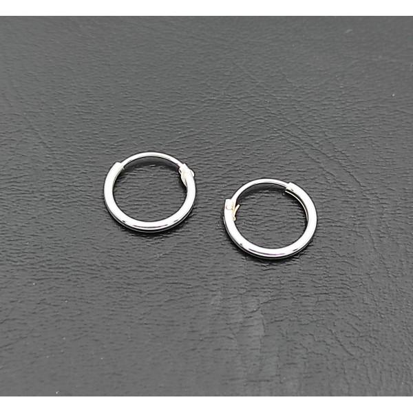 Σκουλαρίκι κρίκος ασήμι 925 1 mm πάχος x 10 mm διάμετρο