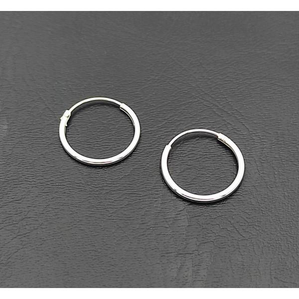 Σκουλαρίκι κρίκος ασήμι 925 1 mm πάχος x 14 mm διάμετρο