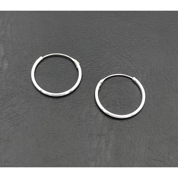 Σκουλαρίκι κρίκος ασήμι 925 1 mm πάχος x 16 mm διάμετρο