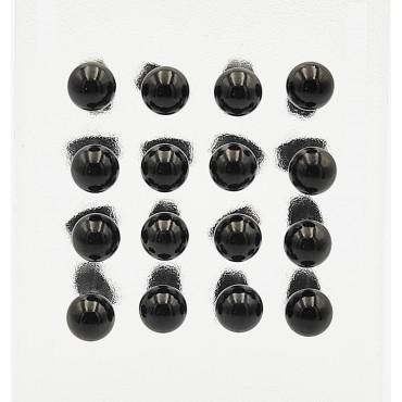 βραχιόλι μαύρο δερμάτινο με μαγνητικό κούμπωμα από χειρουγικό ατσάλι 22