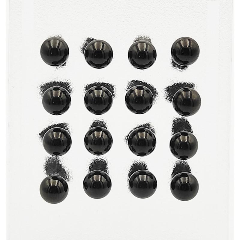 σκουλαρίκια από χειρουργικό ατσάλι με μαύρη μπίλια 5 mm 7