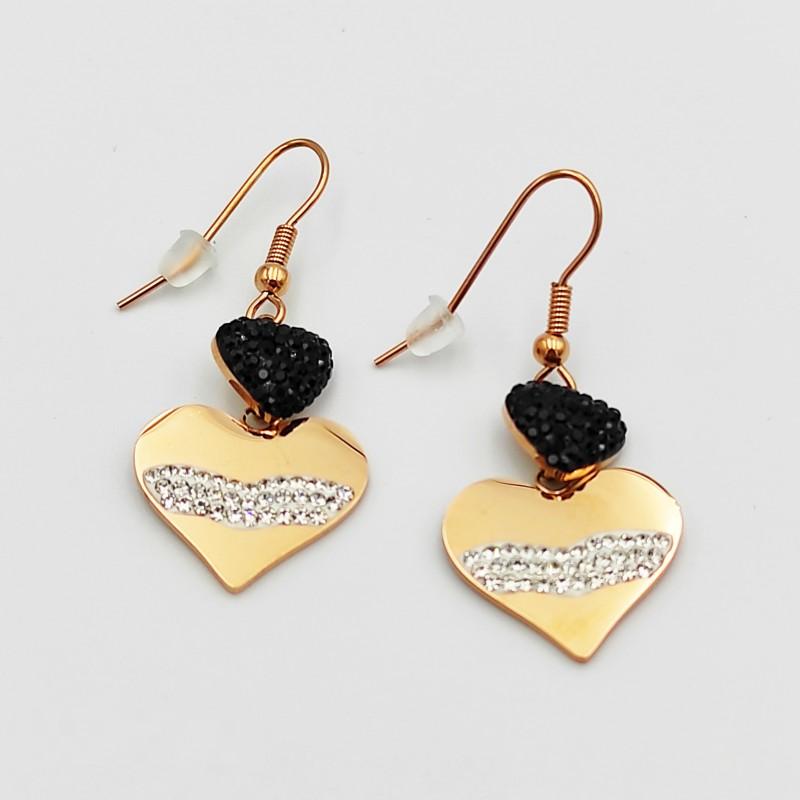 σκουλαρίκια από χειρουργικό ατσάλι ροζ χρυσό καρδιά με μαύρα/λευκά στρασάκια 7