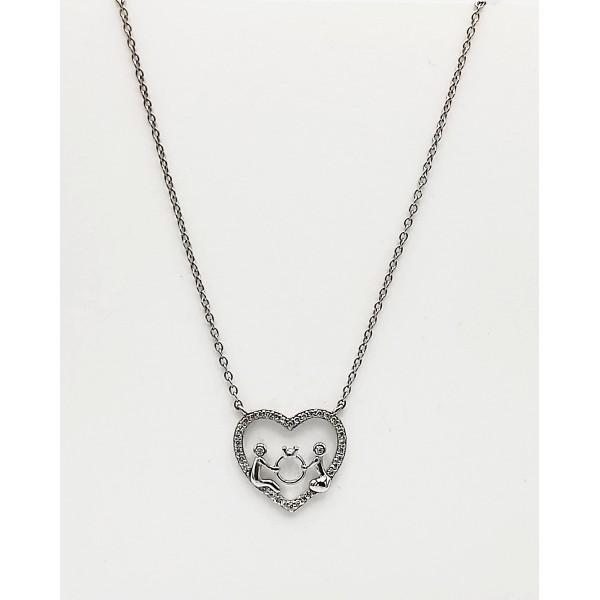 Κολιέ ασήμι 925 ρόδιο καρδιά ζευγάρι με λευκά ζιργκόν