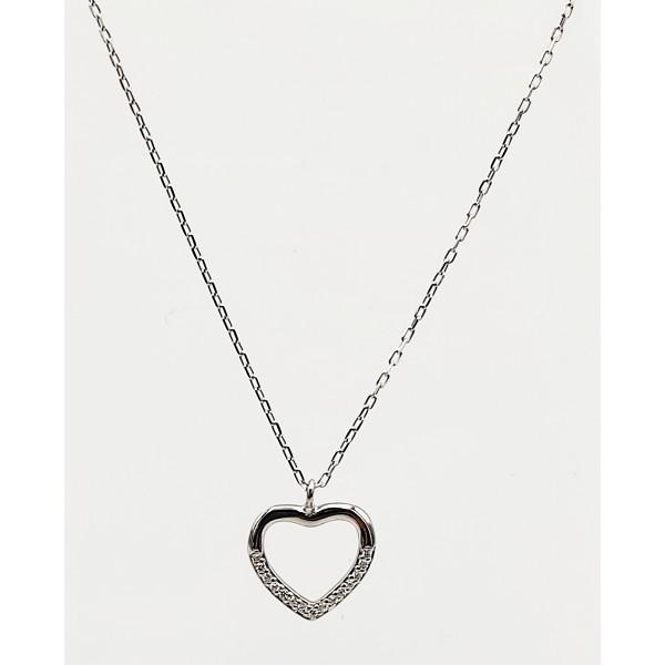 Κολιέ ασήμι 925 ρόδιο καρδιά με λευκά ζιργκόν