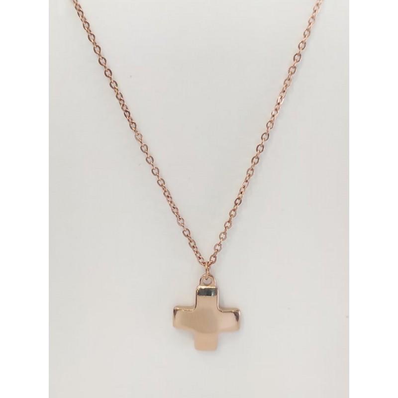 κολιέ ροζ χρυσό σταυρός από χειρουργικό ατσάλι 7