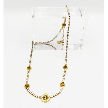 σκουλαρίκια από χειρουργικό ατσάλι ροζ χρυσό ήλιος με μαύρα στρασάκια 20