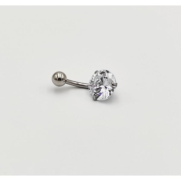 Σκουλαρίκι αφαλού από χειρουργικό ατσάλι 1.6mm x 10mm με λευκό ζιργκόν  10 mm