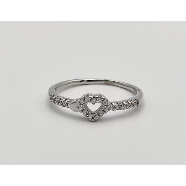 Δαχτυλίδι ασήμι 925 ρόδιο καρδούλα με λευκά ζιργκόν