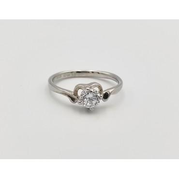 δαχτυλίδι ασήμι 925 ρόδιο καρδιά με λευκά ζιργκόν 14