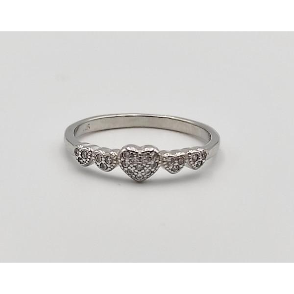 Δαχτυλίδι ασήμι 925 ρόδιο καρδούλες με λευκά ζιργκόν