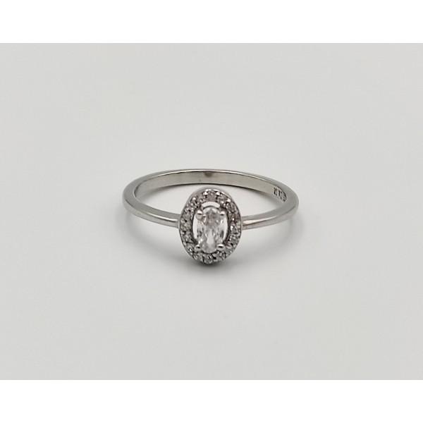 Δαχτυλίδι ασήμι 925 ρόδιο με λευκά ζιργκόν