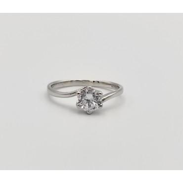 δαχτυλίδι ασήμι 925 διπλό ρόδιο καρδιά λευκά ζιργκόν 12